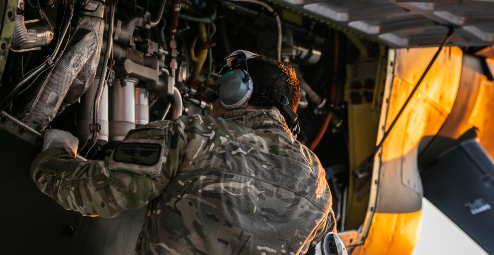 Royal Air Force C-130J going through the start-up procedures
